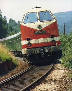 Deutsche Reichsbahn 119 133-7 approaching Obstfelderschmiede, Thueringen Aug 1991