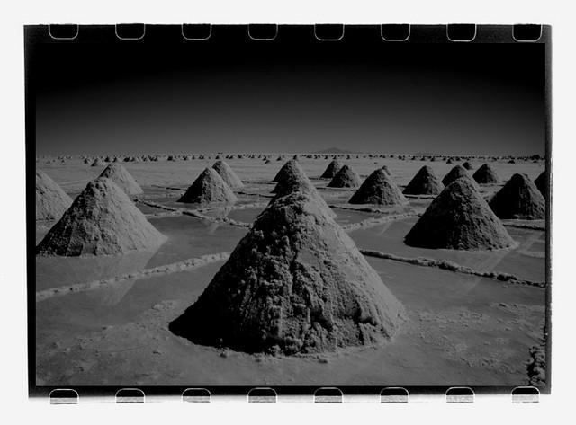 Salt piles in Salar