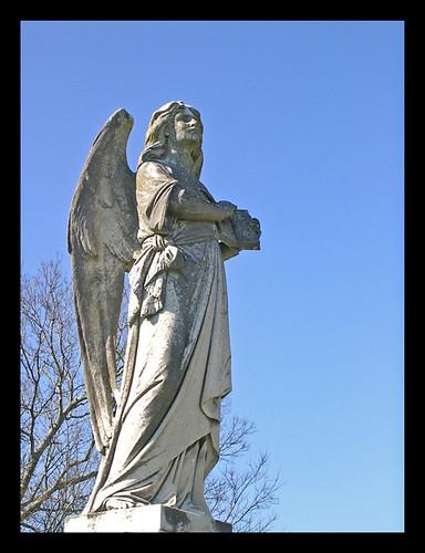 monument statue stone angel concrete memorial granite myrtlehillcemetery blueskytravelromegeorgiausaautumnfallnovembernikoncoolpixjgraceystinsonseasons
