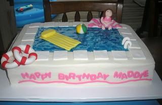 Remarkable Swimming Pool Cake Jennifer Flickr Personalised Birthday Cards Vishlily Jamesorg