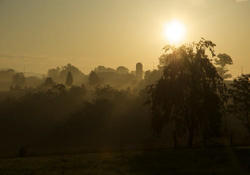 orange mist silhouette sunrise bedford dawn virginia farm silo bedfordcounty bedfordvirginia