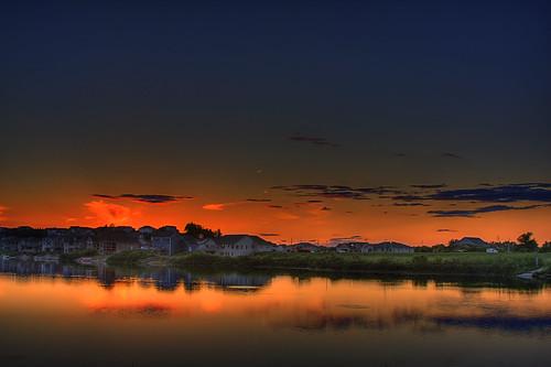 sunset red sky lake bike clouds tripod rochester mn hdr rochestermn cascadetrail