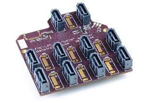 FMC-LPC to SATA adapter board - assembled top | by Dan Strother