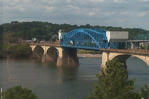 A bridge in Chattanooga over the Tennessee river.