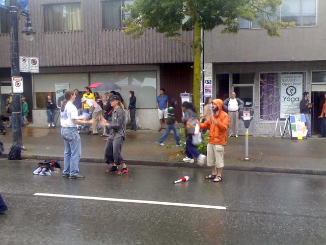 Jugglers in the Rain
