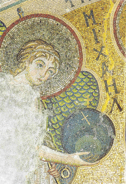 Byzantine mosaic from the 6th century: Archangel Michael