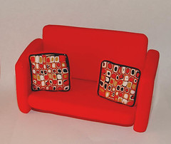 Red Retro Couch Business Card Holder   by mirandami