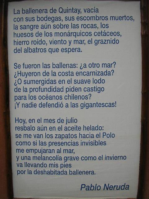 Poema De Pablo Neruda Ballenera De Quintay Francisco