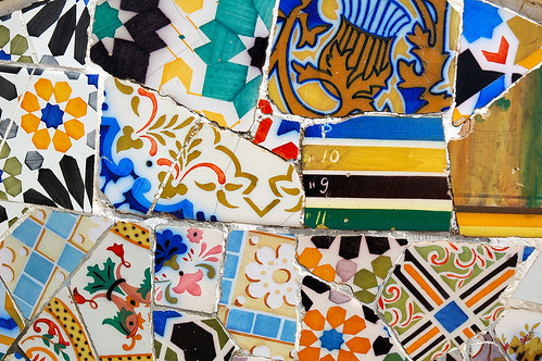 Mosaic Work Called Trencadis by Gaudi at Park Guell, Barcelona   by Carlos Lorenzo