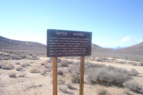 Warning for mine shafts