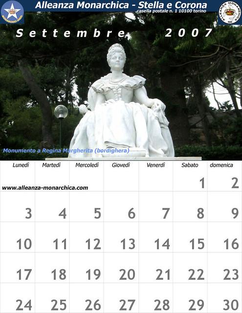 Calendario Settembre 2007.Calendario Settembre 2007 Calendario Di Alleanza Monarchic