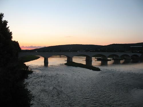 2014 americas northamerica unitedstates newyorkstate steubencounty corning river water bridge chemungriver fingerlakes sunset