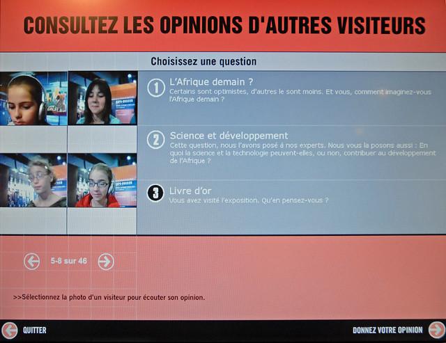 Ecran de sélection du livre d'or (dispositif d'expression des opinions des visiteurs)