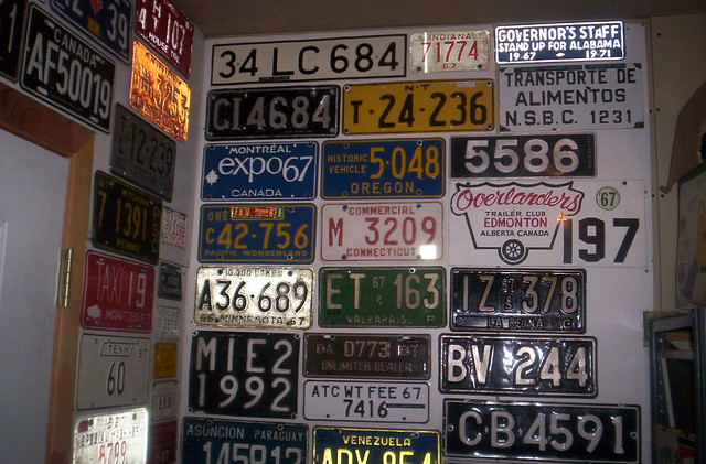 Woody's Garage Wall #1, more 1967 era LICENSE PLATES