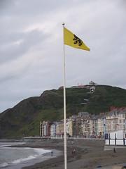 Baner Fflandrys yn hedfan ar y Prom, Aberystwyth