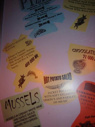 Guinjata bay menu.