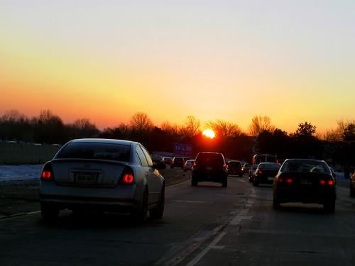 auto road morning blue sky orange sun cars car silhouette yellow sunrise solar highway automobile bright ks kansascity freeway flare kansas autos samoff automobiles solarflare overlandpark overland godscountry overlandparkks