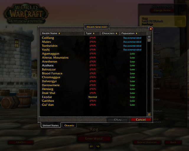 WoW Server List | Server listing from today, showing the 're