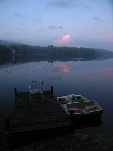 sunset lake water boat dock chair newhampshire