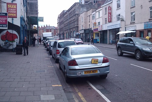 Bristol Taxi 2138 (and other vehicles) parked in the cycle lane on Stokes Croft, Bristol | by tommyh