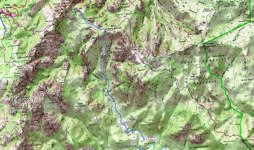 Carte du Haut Cavu dans la région des ruisseaux de Figa Bona et Peralzone avec le chemin de Paliri tel que suivi avant 2015