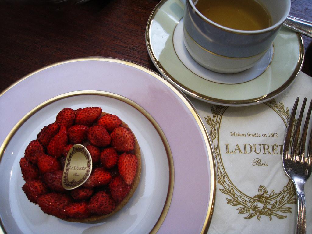 afternoon tea at Laduree    | very nice! He had strawberry t