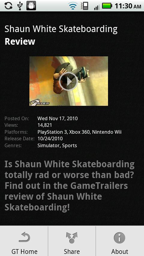 GameTrailer Android Screens