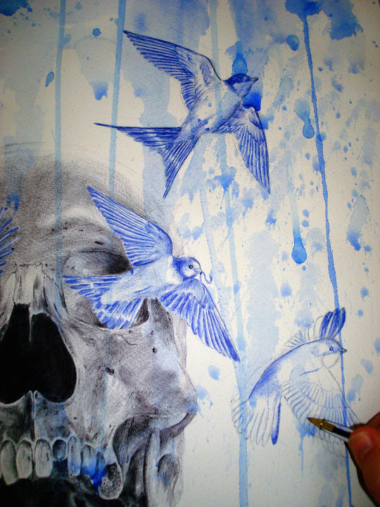 Black Skull Drawing With Birds In Black And Blue Ballpoint