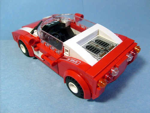 red racer car rear angle