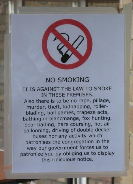 No smoking in St Saviour Warwick Avenue