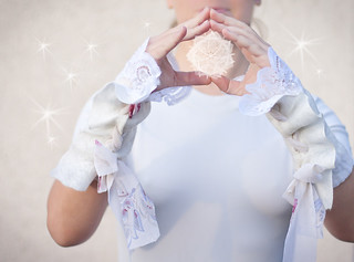 Nuno Felted Gauntlets Merino Wool, Silk, Vintage French Lace - Snow White OOAK | by daimblond