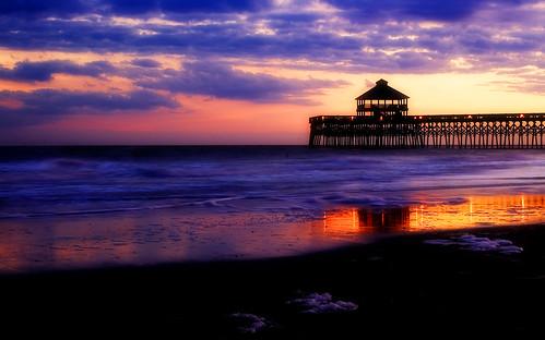 sunset color reflection beach water pier interestingness nikond70 explore photoshopcs2