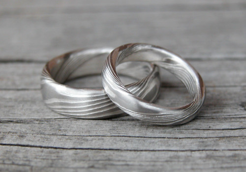 silver and palladium mokume gane wedding bands