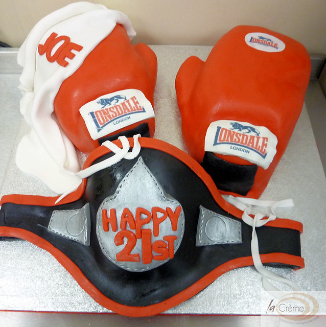 Amazing 21St Boxing Gloves Birthday Cake 21St Boxing Theme Birthda Flickr Birthday Cards Printable Inklcafe Filternl