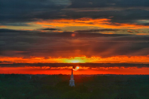 sunset sky sun color clouds dramatic steeple hdr