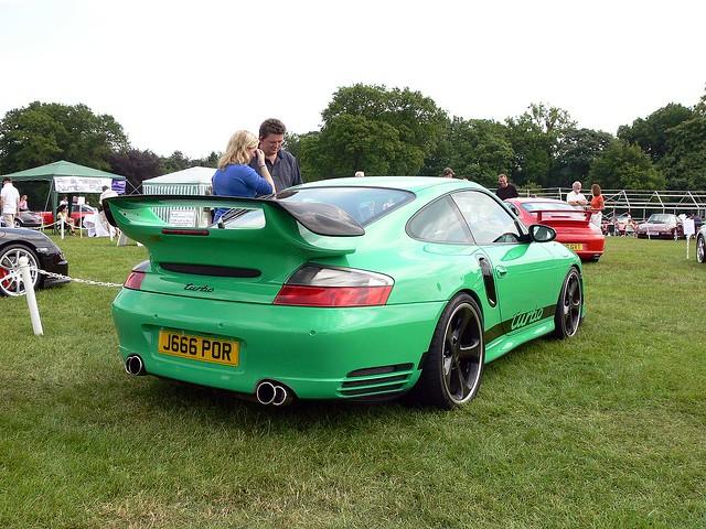 Green Porsche @ Car show