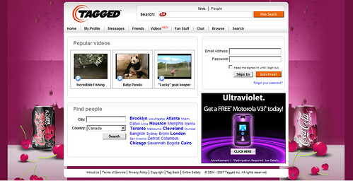 Tagged.com Home Page: Background Advertising | tagged has