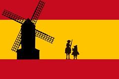 Bandera de España con Don Quijote y el Molino de viento