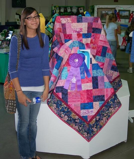Lauren and her quilt