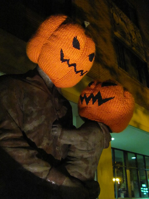 Pumpkin Head Halloween Yarnbomb