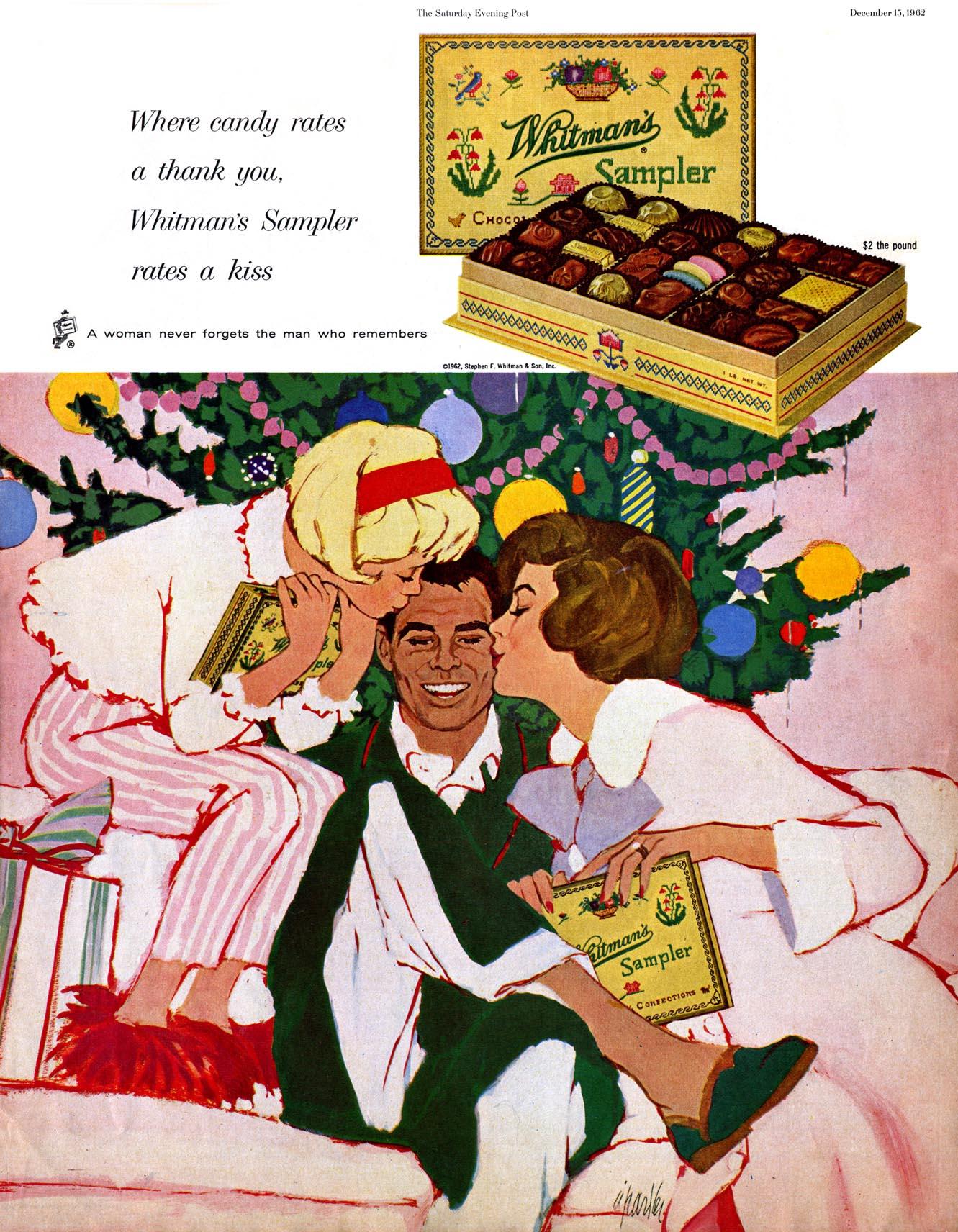 Whitman's Sampler - published in The Saturday Evening Post - December 15, 1962 - Illustration by Al Parker