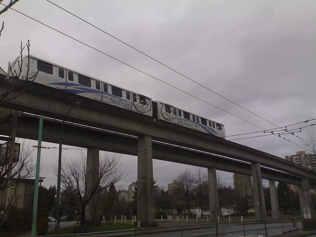 SkyTrain Leaving Metrotown Station