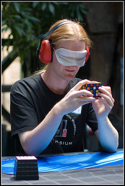 Chris Hardwick Solving 5x5x5 Rubik's Cube Blindfolded, Bre… | Flickr