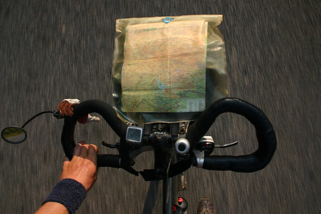 Driving down a Lao mountain between Vientiane and Louang Prabang. Wonderful cycling.