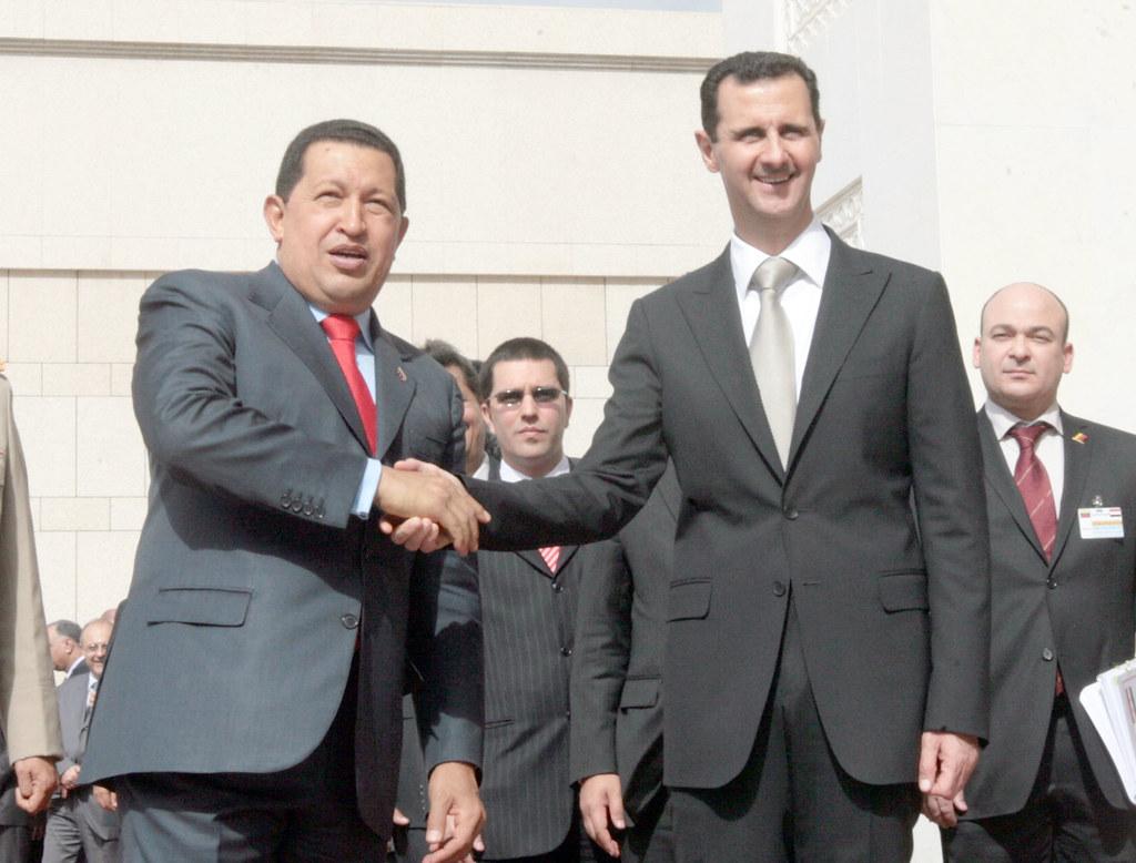 Presidente de Siria Bashar Al Assad recibiendo al presidente venezolano Hugo Chávez