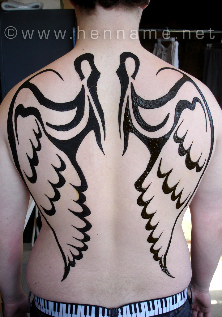 Henna Angel Wings On Back Done For Cleveland State Univers