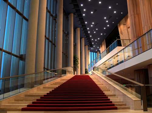 Way up - red carpet and marble staircase | by greentzatziki
