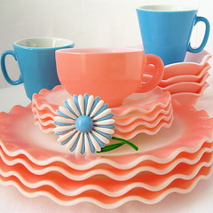 Vintage Pink & Blue Dishes   by Picnic by Ellie