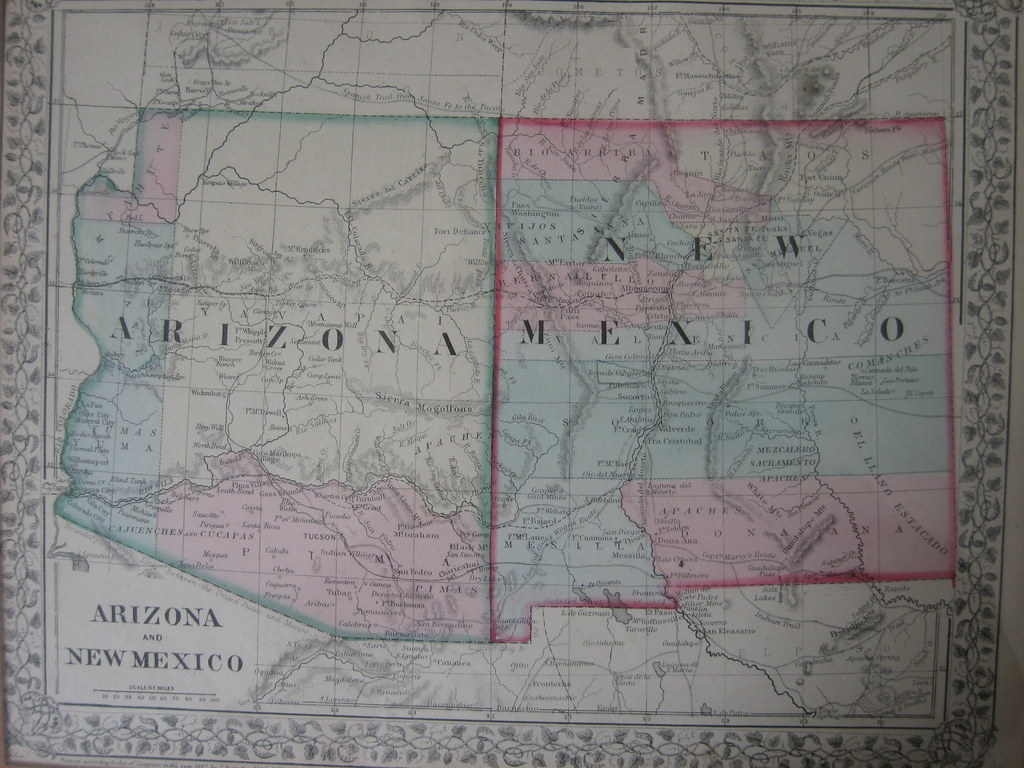 New Mexico & Arizona Map 1867 | best viewed in all sizes, or ...
