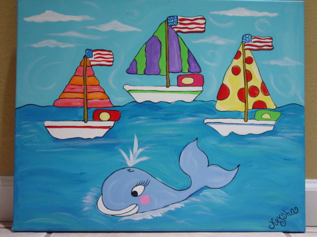 Play Rooms and Nursery Rooms Whale Canvas Painting  Hand Painted for Boys Rooms Whale Nursery Art Personalized Art